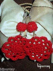 ORECCHINI-uncinetto-rosso-cotone-pizzo-perla