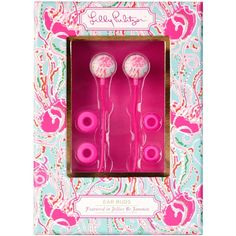 Lilly Pulitzer Earbuds with Volume Control, Jellies Be Jammin' ($16) ❤ liked on Polyvore featuring music