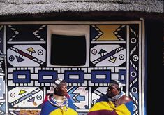 In Ndebele wall painting, the walls of a house are firstly finished in cow dung. Then tradition dictates designs painted on these walls with coloured clay.