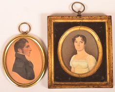 Two Early 19th Century Miniature Oval Portait Paintings : Lot 511