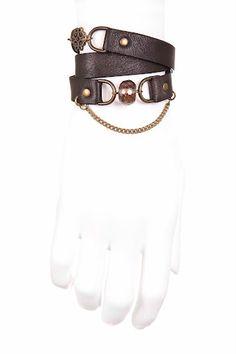 e9d91a675c Ego  Leather wraparound bracelet with smokey quartz and metal ornaments.  Design  Parkwolf Juwelen