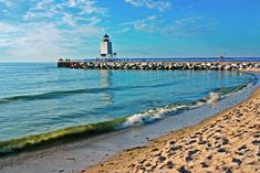Charlevoix Lighhouse and Pier : Lake Michigan Beach : Mike Barton Photography