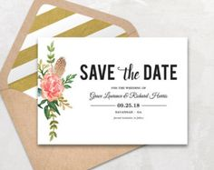 Printable Save the Date Card, Save the date template, Boho Save the ...