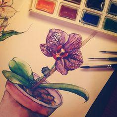 Не могу без любимой акварельки. Верю, что когда-нибудь буду понимать ее лучше, чем себя. Практикуюсь на расцветшей орхидее. #ArtBySilmairel #Art #Watercolor #Brushes #Orchid #Phalaenopsis #Flower #Violet