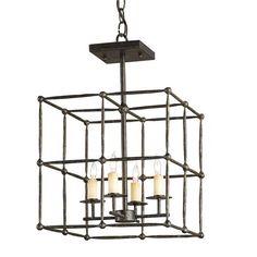 Open Grid Hammered Iron Ceiling Lantern $765, 20 x 13