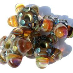 Handmade Lampwork Glass Beads Bubble Windows Striated Caramel