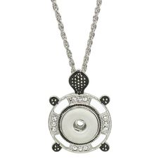 """1 Pendant Necklace - Fits 18MM Candy Snap Charm 20"""" Turtle Rhinestone kc0314…"""