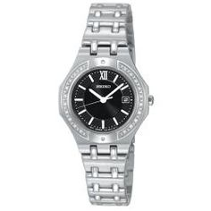 SS watch with a black face