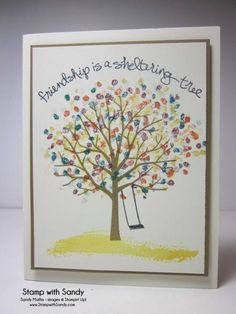 "love the colorful ""leaves"" on the tree!  so cheery looking!  curve the sentiment"