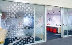 Window graphics for signage, safety, and added privacy (vinyl, frosted, or… Office Graphics, Window Graphics, Environmental Graphic Design, Environmental Graphics, Window Design, Wall Design, Commercial Office Design, Window Signage, Signage Design