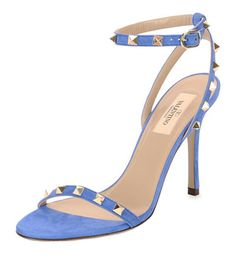 Valentino Rockstud Suede Naked Sandal in Light Sapphire
