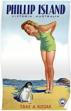 Phillip Island Victoria Australia Vintage Poster Restored Poster