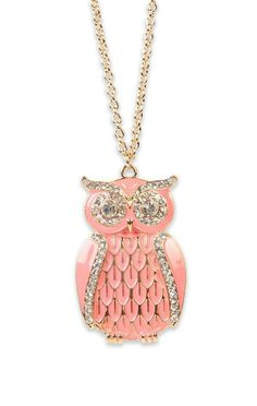 Cute pink owl necklace.http://www.loveitsomuch.com/