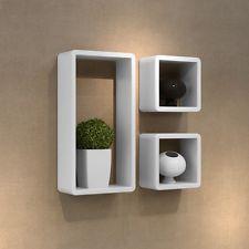 Wall Floating Cube Shelf 3pc Set Wooden Storage Shelves Shop Display Bookshelf