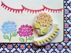 hydrangea flower stamp set. hand carved rubber stamp. hand carved stamp. party banner and flower. june bride. diy wedding. set of 2.