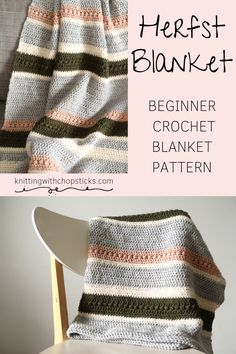 A cozy blanket crochet pattern, perfect for fall home decor. Beginner stitches for some simple texture and elegant stripes. Get the complete pattern here. Crochet Afghans, Easy Crochet Blanket, Crochet For Beginners Blanket, Crochet Motifs, Afghan Crochet Patterns, Crochet Stitches, Crochet Hooks, Crochet Baby, Knit Crochet