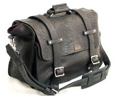 """20"""" Leather Laptop Bag New: Custom Black Leather bag  -  Handmade in the U.S.A. - American Buffalo Leather for the Perfect Pitch"""