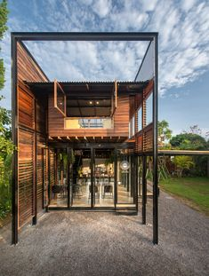 BodinChapa Architects 9 is part of Creative architecture Presentation Inspiration - BodinChapa Architects Photograph by Rungkit Charoenwat Tyni House, Tiny House Cabin, Tiny House Design, Modern House Design, Container Home Designs, Steel Frame House, Steel House, Creative Architecture, Architecture Design