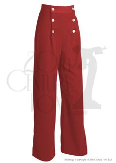 30s Sailor Style Pants with wide leg in Red