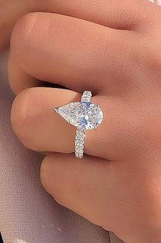 Diamond Engagement Ring -pear cut solitaire white gold - Joe Escobar Diamonds #weddings #rings #weddingrings #engagementrings