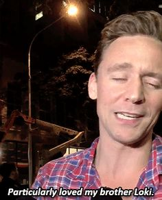 Tom doing his Chris Hemsworth impression. Gif-set (by fromhiddleswithlove): http://fromhiddleswithlove.tumblr.com/post/149456220849/tom-doing-his-chris-hemsworth-impression Video: https://twitter.com/amyprice21/status/768739595588472832