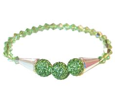 CLEAR AB & PERIDOT Green Crystal Bracelet by CharminglyYoursToo, $30.95