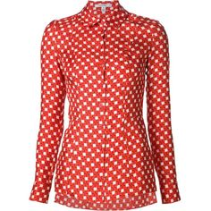 Carven Calico Print Blouse ($390) ❤ liked on Polyvore featuring tops, blouses, red, carven top, print blouse, red print blouse, pattern blouse and pattern tops