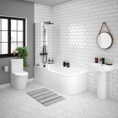 A beautiful modern bathroom can be achieved simply & affordably with our contemporary bathroom suites. Browse the wide range of modern bathroom suites with VP. Modern Toilet, Modern Bathroom, Family Bathroom, Master Bathroom, Bathroom Renos, Bathroom Fixtures, Bathroom Ideas, Bathroom Inspo, Straight Baths