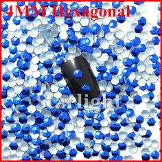 [ Retail ]Beauty  4MM hexagonal shape blue corlor 1000pcs nai art decorations free shipping