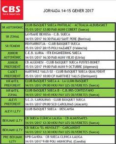 Calendari Jornada del C.B Sueca 14 I 15 Gener 2017