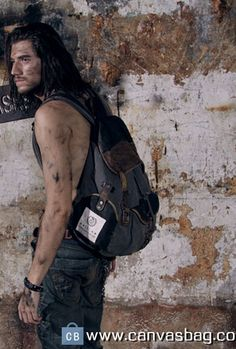 Leather-Canvas-Backpack-Canvas-Backpack-Laptop-Bag-8 Canvas Backpack, Canvas Laptop Bag, Laptop Backpack, Sling Backpack, Backpacks, Leather Bag, Bags, Outfits, Fashion