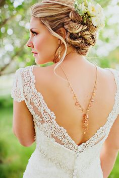 wedding gown with low cut back