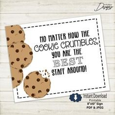 Staff Appreciation Gift Tags | COOKIE crumbles | Best Staff | HT051 - Instant Download