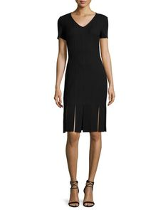 Moda Knit V-Neck Short-Sleeve Carwash Dress, Caviar by St. John Collection at Neiman Marcus. $1095
