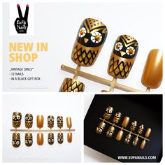 """Supa Nails """"Vintage Owls"""" New in Shop 12 handpainted gold/black owl nails with rhinestone eyes - Set of 12 artificial designer nails - comes in a black gift box Owl Nail Art, Owl Nails, Cute Nail Art, Cute Nails, Tumblr Nail Art, Nail Manicure, Nail Polish, Manicure Ideas, Nail Ideas"""