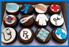 Cupcakes - Rx, medication, thermometer, stethoscope, scrubs