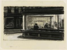 Edward Hopper, Study for Nighthawks, 1941 or 1942, fabricated chalk and charcoal on paper