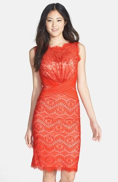 Try Lace in a pop of color!  Tadashi Shoji Lace Sheath Dress (Regular  Petite) available at #Nordstrom