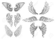 Illustration of Heraldic wings set for tattoo or mascot design vector art, clipart and stock vectors. Dream Tattoos, Badass Tattoos, Body Art Tattoos, Wing Tattoos, Ange Tattoo, Tattoo Bird, Cardinal Tattoo, Tribal Scorpion Tattoo, Tattoo Planets