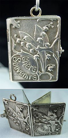 """Art Nouveau French Chers Souvenirs book locket charm""  ~ Charm-ing indeed. I would welcome this in to my little treasure box without hesitation...<3"