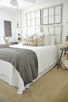 I am in love with this room! Guest Bedroom makeover on a budget! See how thrifted finds, a little paint, & some DIY made this guest bedroom lovely! Home Bedroom, Master Bedroom, Bedroom Decor, Bedroom Ideas, Bedroom Inspiration, Budget Bedroom, Bedroom Furniture, Bedroom Rustic, Furniture Design