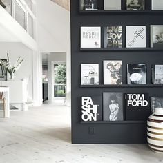 For inspiration: Book wall From Stylizimo, Norway Room Inspiration, Interior Inspiration, Interior Ideas, Interior Design, Dream Home Design, House Design, Color Plan, Book Wall, Design Your Life