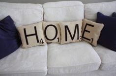 Items similar to HOME Scrabble Pillows - Inserts Included // Big Scrabble Tile Pillows // Scrabble Letters // Giant Scrabble Tiles // Home Sweet Home on Etsy Craft Projects, Sewing Projects, Projects To Try, Sewing Ideas, Deco Dyi, Small Bedroom Designs, Design Bedroom, Diy Inspiration, Idee Diy