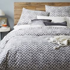 Organic Stamped Dot Duvet Cover + Shams | west elm SHEET COLORS: brighter colors; blues, yellows, greens or white (no greys).