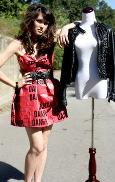 Diy Duct Tape And Danger Tape Dress From Handmade, Ruffled Pleather Jacket, Bow Belt From Betsey Johnson