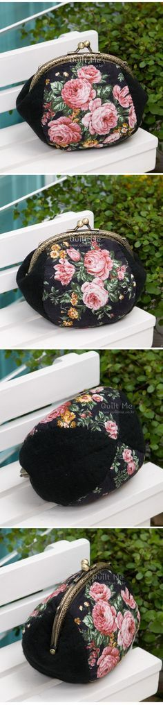 Bolso Cute Coin Purse, Coin Bag, Patchwork Bags, Quilted Bag, Cute Purses, Purses And Bags, How To Make Purses, Summer Handbags, Frame Purse