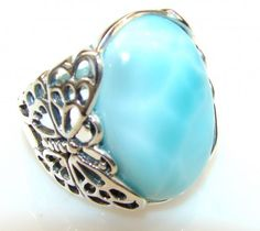 Lovely Blue Larimar Sterling Silver Ring s. 8 1/2