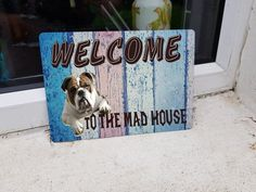 bulldog door sign - mad house - welcome sign- pet sign - house sign - door or wall metal sign - 210mm x 148mm Dog Signs, Metal, Wood, House, Woodwind Instrument, Home, Haus, Metals, Wood Planks