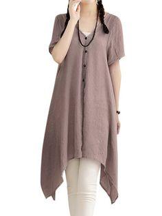 Casual Women Solid Button Side  Split  Cotton Linen Cardigan