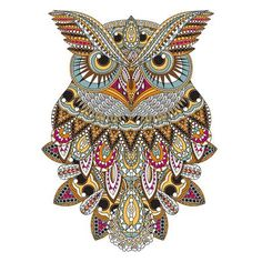 Illustration of sumptuous owl coloring page in exquisite style vector art, clipart and stock vectors. Doodles Zentangles, Owl Illustration, Illustrations, Totem Tattoo, Owl Coloring Pages, Airbrush T Shirts, Painted Glass Bottles, Owl Artwork, Denim And Lace